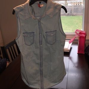 H&M snap top in light blue/denim inspired size 38